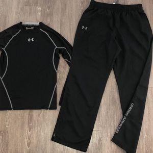 Men's EUC Under Armour pants long sleeve shirt L